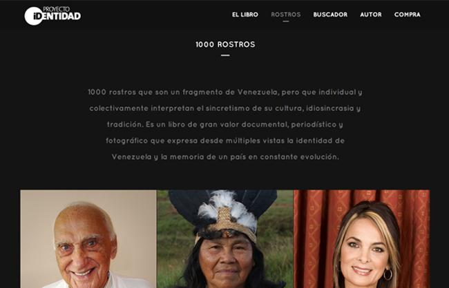 Landing page Identidad Venezuela - 1000 Rostros